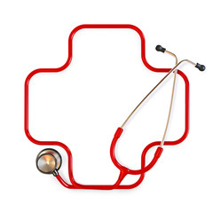 Medical cross symbol formed from a stethoscope