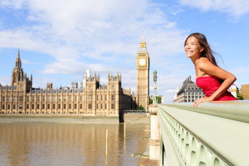 Wall Mural - London woman on Westminster Bridge by Big Ben