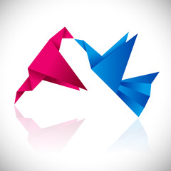Origami design flying birds icon set.