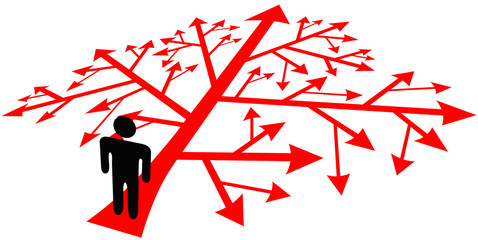Person go on complicated decision path