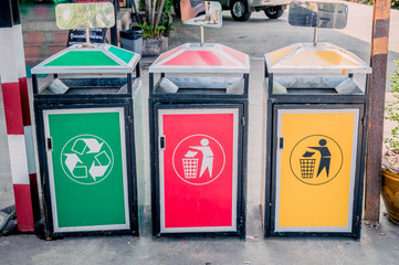 colourful dustbins in the public area