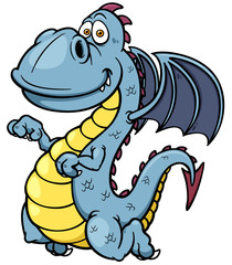 Vector illustration of Cartoon dragon