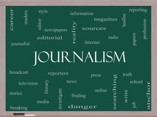 Journalsim Word Cloud Concept on a Blackboard