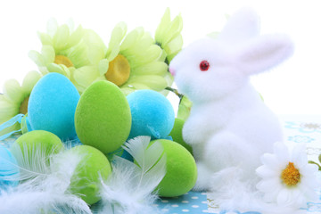 Easter decoration with bunny and easter eggs