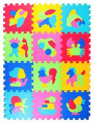 Multicolored foam puzzle