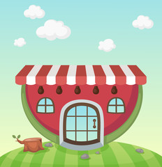 Illustration of a watermelon house