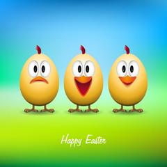 Happy easter - Funny chicken eggs - vector card