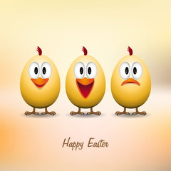 Happy easter - Funny chicken eggs - vector card
