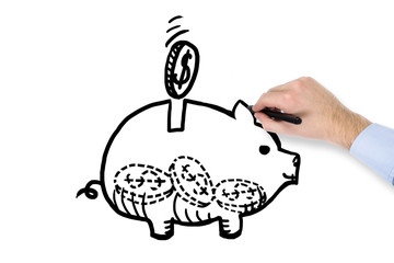 A hand drawing piggy bank