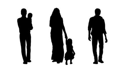 indian people walking silhouettes set 3