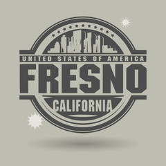 Stamp or label with text Fresno, California inside