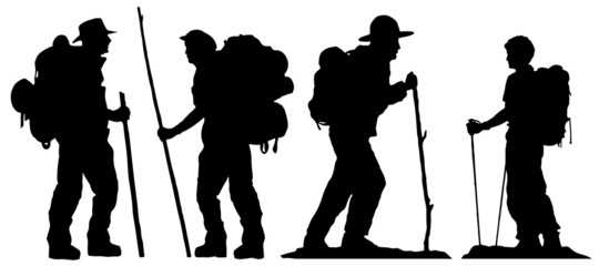 hiker silhouettes Wall mural