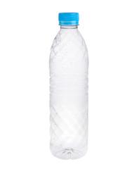 Empty plastic bottles isolated on white background.