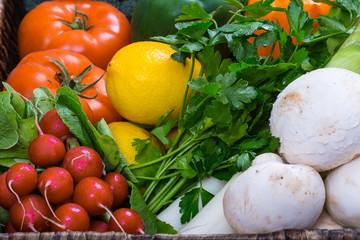 fresh vegetables in wicker tray