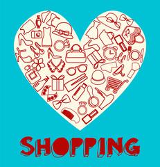 Shopping Icon set filled heart- Illustration
