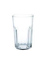Empty glass on white.
