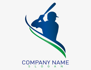 Baseball player logo