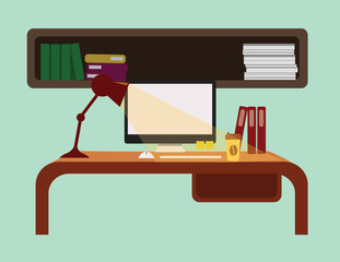 interior of working place. vector illustration