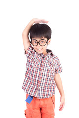asian boy growing tall and measuring himself