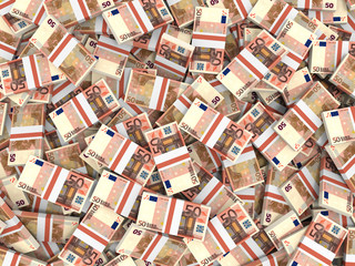 Euro banknotes background.