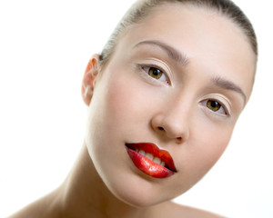 Beautiful young adult woman with red lips