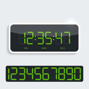 Digital clock with shiny plastic panel. additional figures