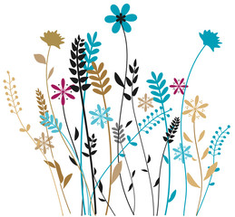 Color meadow grass isolated on white, vector illustration