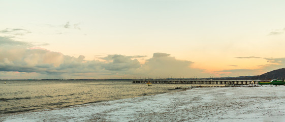 Canvas Prints Inspirational message Baltic sea Gdynia, pier in Orlowo Poland. Winter scenery