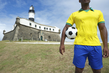 Brazilian Football Player Salvador Lighthouse with Soccer Ball