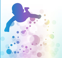 Swimming silhouette of baby, colored bubble water illustration