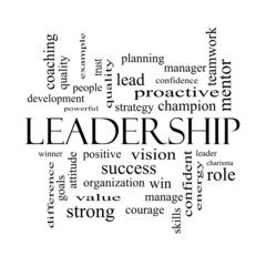 Leadership Word Cloud Concept in black and white