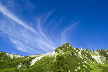 千畳敷カールと青空にたなびく高層雲