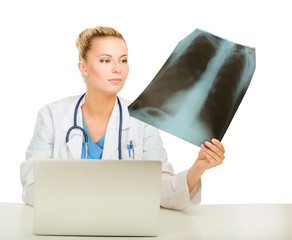 Female doctor with X-ray picture isolated on white background