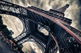 View of Eiffel tower in Grungy dramatic style