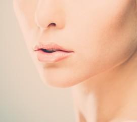 Beautiful young woman lips