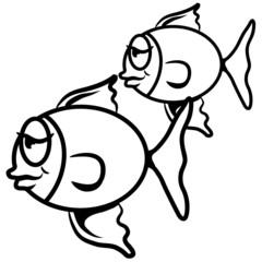 doof schläfrig Fisch Paar