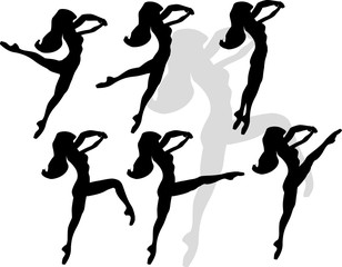 six women silhouettes in motion isolated on white