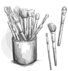 Make up brushes collection. Brushes in a case.