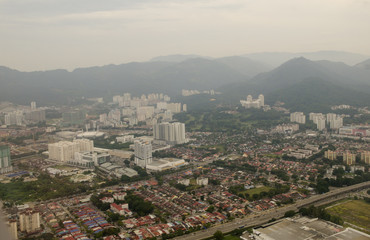 Aerial view to the Georgetown city , Penang, Malaysia