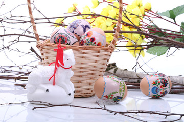 Easter basket with eggs and lamb