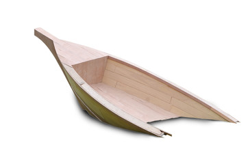Half of wooden boat, isolated on white