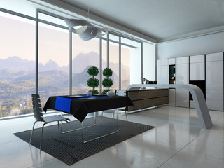 ..Modern kitchen interior with dining table and blue tablecloth