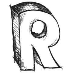 Sketchy hand drawn letter R isolated on white