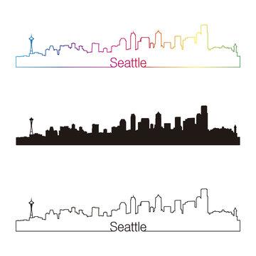 Seattle skyline linear style with rainbow