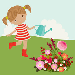 Little girl watering the flowers outdoor