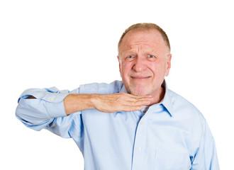 Portrait, headshot senior man gesturing with hand cut it out