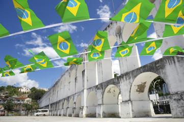 Arcos da Lapa Arches Rio de Janeiro Brazilian Flags