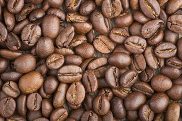 Wall Mural - Coffee beans and leaves on the wood table