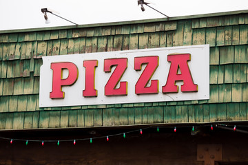 Pizza Restaurant Weathered Sign