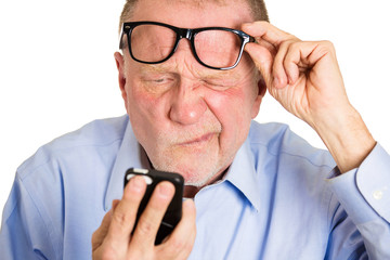 Blind old man. Headshot aging guy has difficulty reading  text